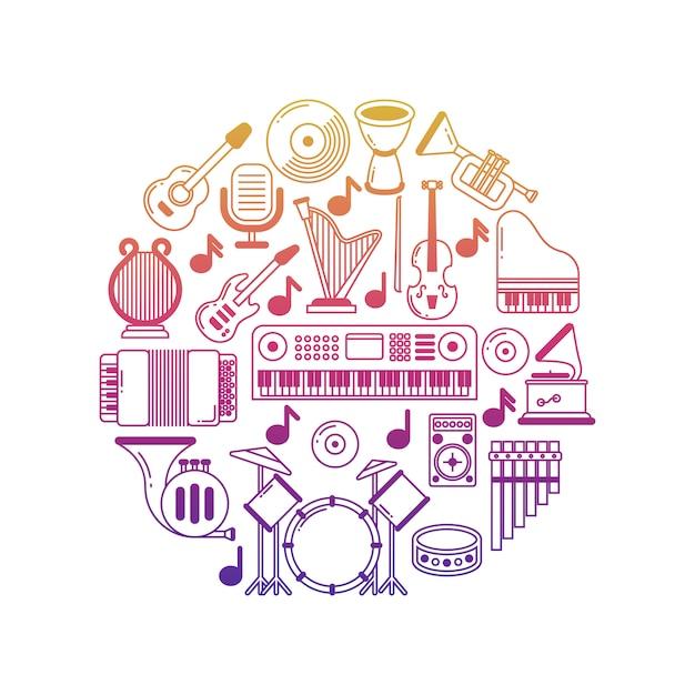 Cartaz de música brilhante com ícones de instrumentos musicais Vetor Premium
