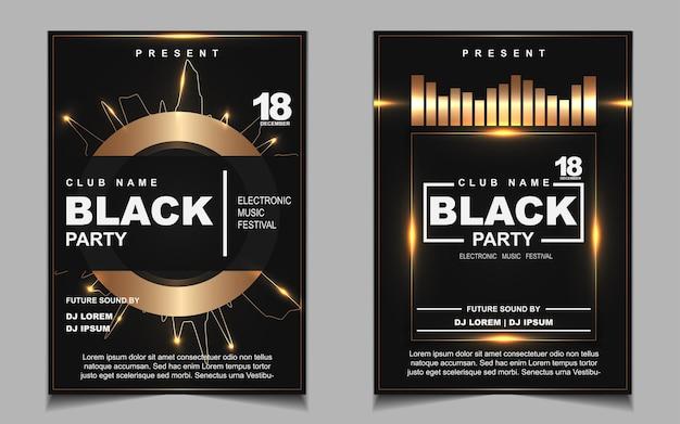 Cartaz de música de festa dançante noturna em preto e dourado Vetor Premium