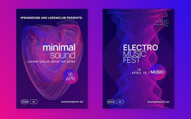 Cartaz de música de néon. electro dance dj. festival de som eletrônico. panfleto de evento do clube. festa de techno trance. Vetor Premium