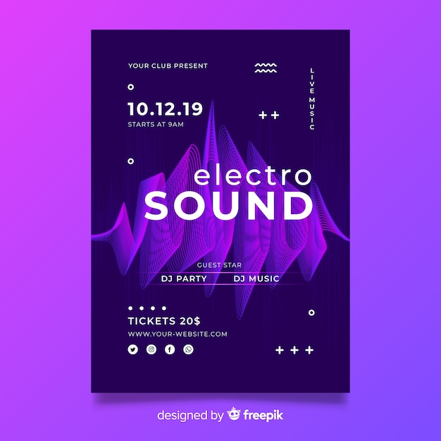 Cartaz de música eletrônica de onda abstrata de modelo Vetor grátis