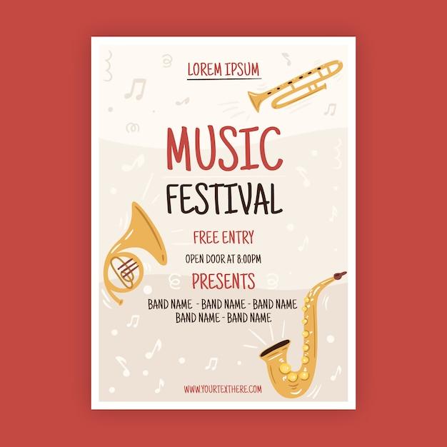 Cartaz de música estilo ilustrado Vetor grátis