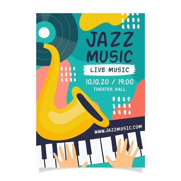 Cartaz de música jazz mão desenhada modelo abstrato Vetor grátis