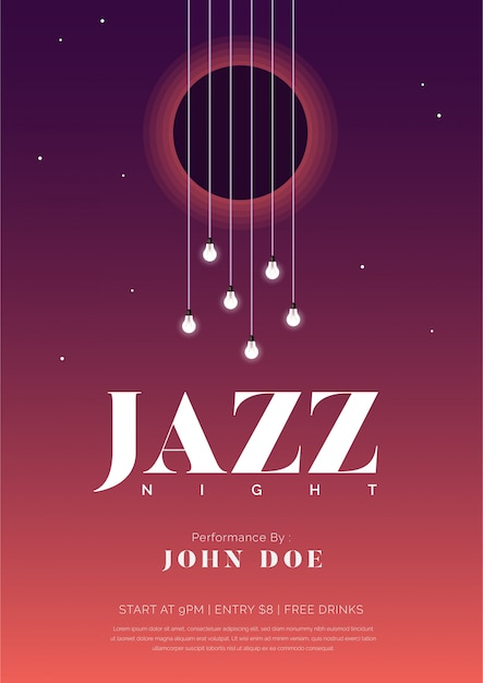 Cartaz de música jazz noite com cordas de guitarra e lâmpadas Vetor Premium