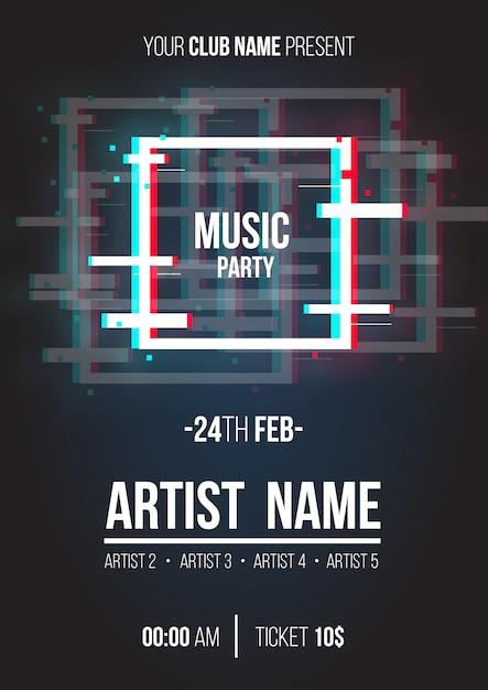 Cartaz de música moderna com formas geométricas de falha Vetor grátis