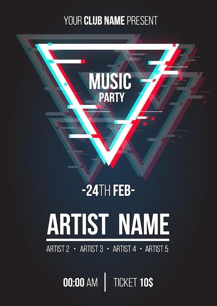 Cartaz de música moderna com triângulo de falha Vetor grátis