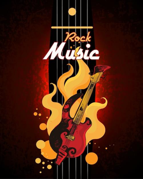 Cartaz de música rock Vetor Premium