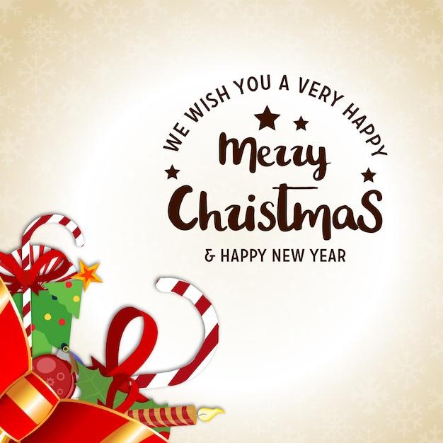 Cartaz de natal com tipografia criativa de natal e elementos realistas de natal Vetor grátis