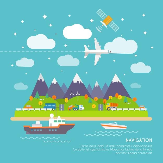 Cartaz de navegação Vetor grátis