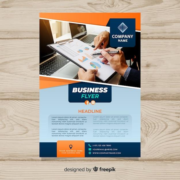 Cartaz de negócios fotográficos Vetor grátis
