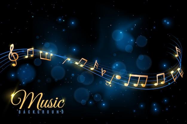 Cartaz de nota musical. fundo musical, notas musicais rodando. álbum de jazz, conceito de anúncio de concerto de sinfonia clássica Vetor Premium