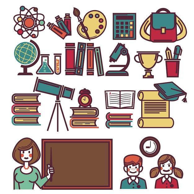 Cartaz de objetos de escola com professor e crianças Vetor Premium