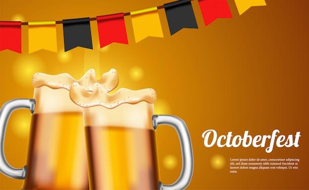 Cartaz de octoberfest com cerveja e vidro e bandeira da alemanha Vetor Premium
