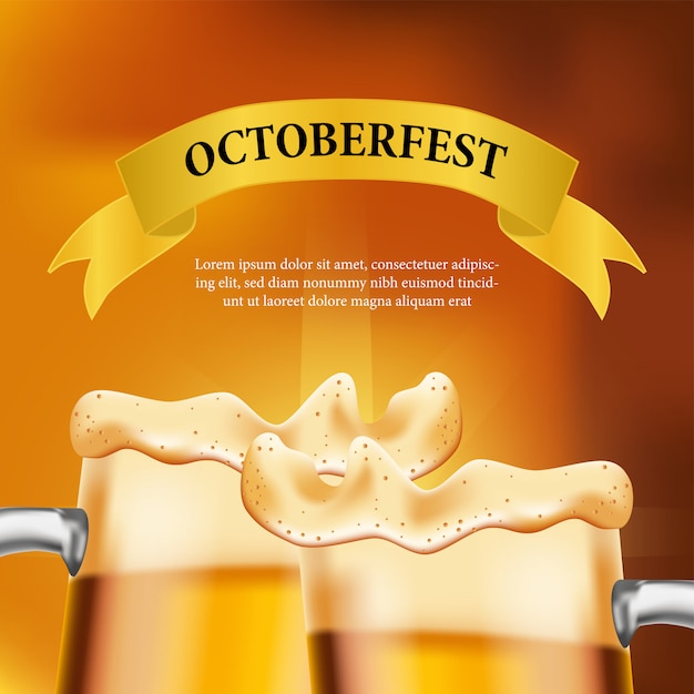 Cartaz de octoberfest com copo de cerveja e garrafa Vetor Premium