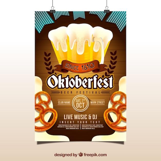 Cartaz de oktoberfest com cerveja e pretzels Vetor grátis