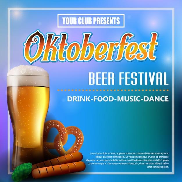 Cartaz de oktoberfest com elementos de comida e bebida Vetor Premium