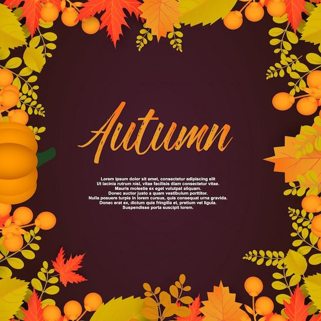 Cartaz de outono com folhas e elementos florais. Vetor Premium