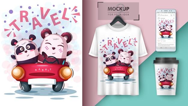 Cartaz de panda de viagem e merchandising Vetor Premium