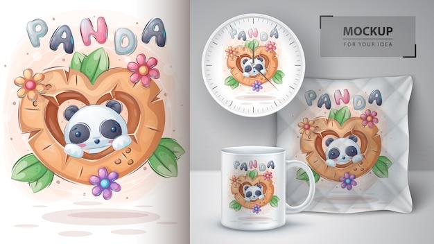 Cartaz de panda fofo em coração de madeira e merchandising Vetor grátis