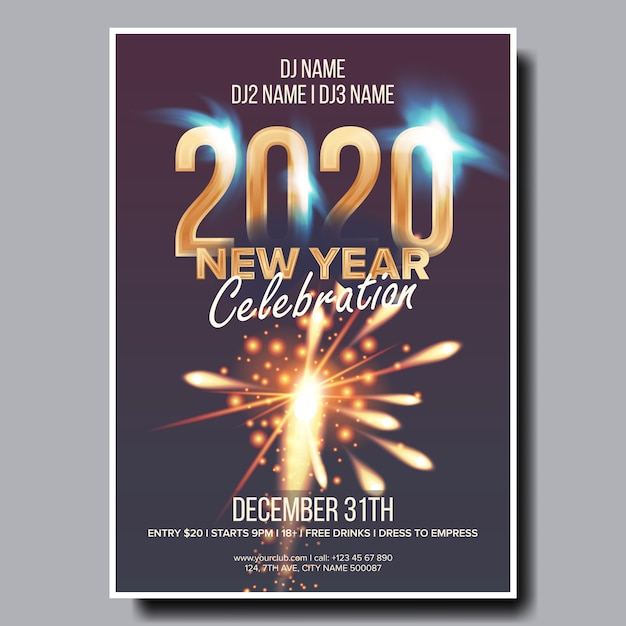 Cartaz de panfleto de festa de natal 2020 Vetor Premium