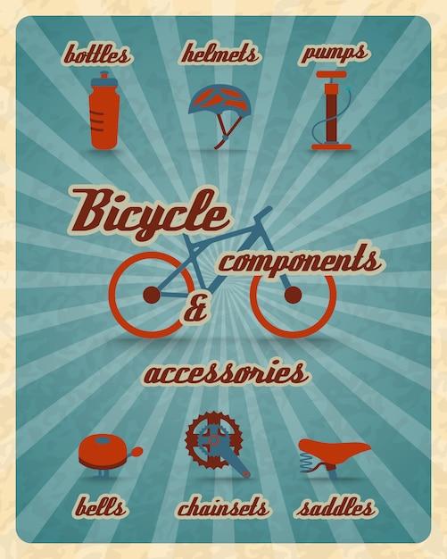 Cartaz de peças de bicicleta Vetor grátis
