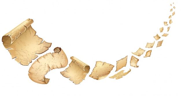 Cartaz de pergaminhos antigos a voar. Vetor grátis