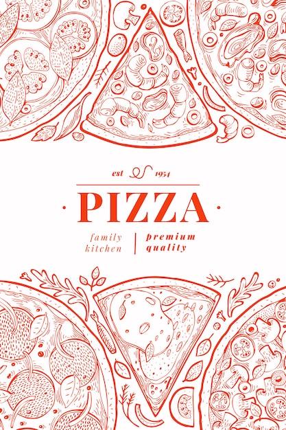 Cartaz de pizza italiana Vetor Premium