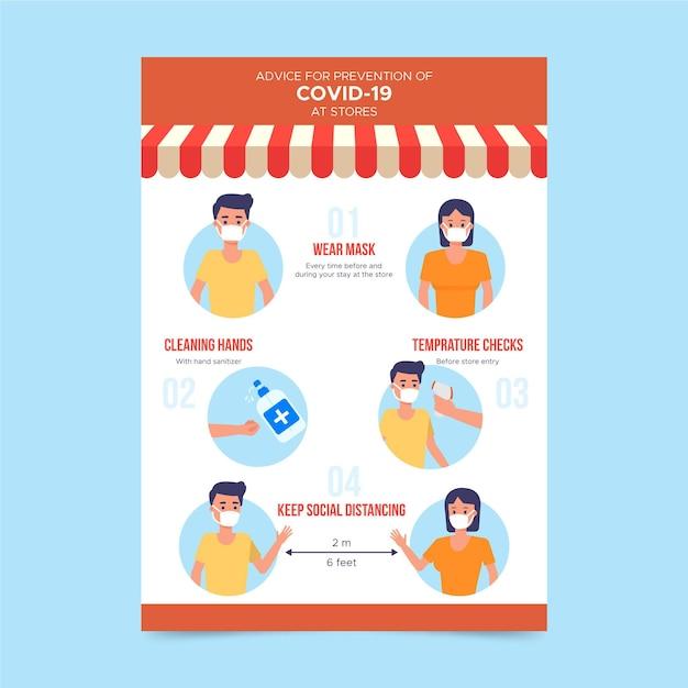 Cartaz de prevenção do coronavirus para lojas Vetor grátis