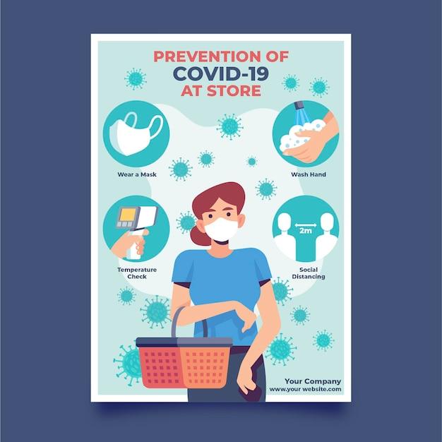 Cartaz de prevenção por ser saudável nas lojas Vetor Premium