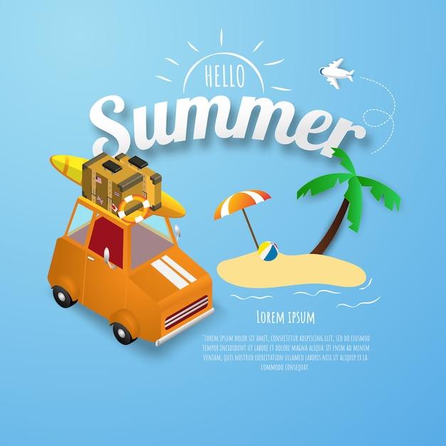 Cartaz de primavera verão, banner parque de estacionamento laranja na praia Vetor Premium