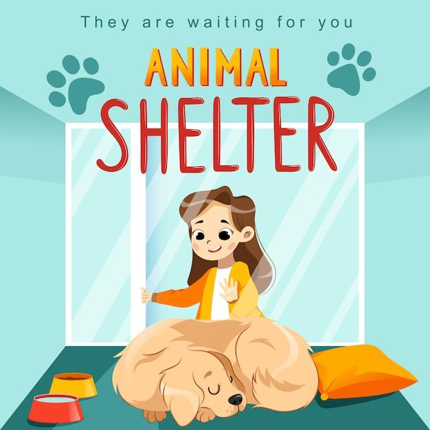 Cartaz de projeto de abrigo de animais com criança, cachorro e decorações. Vetor Premium