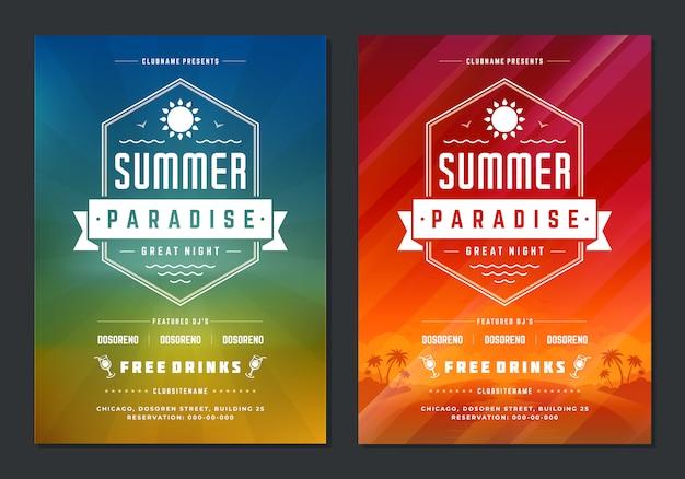 Cartaz de projeto de festa de verão ou panfleto boate evento tipografia moderna Vetor Premium