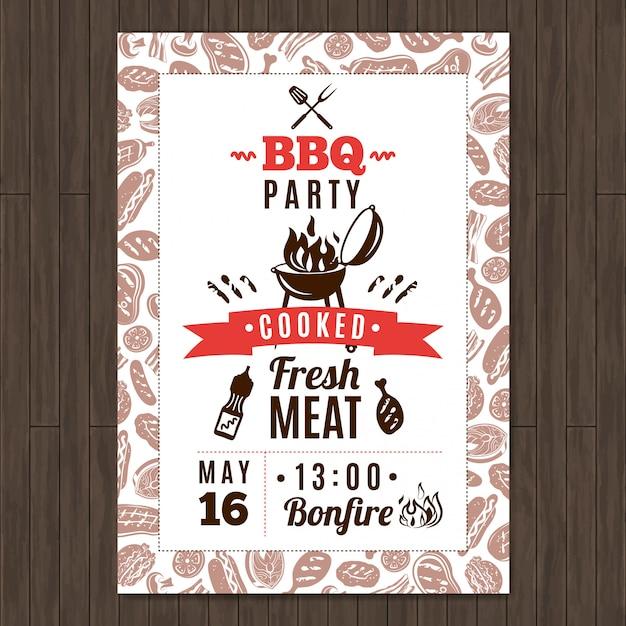 Cartaz de promo de festa de churrasco com elementos frescos de carne grelhada Vetor grátis