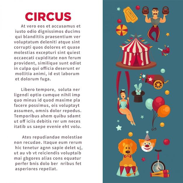 Cartaz de promo incrível circo com participantes do show e equipamentos. Vetor Premium