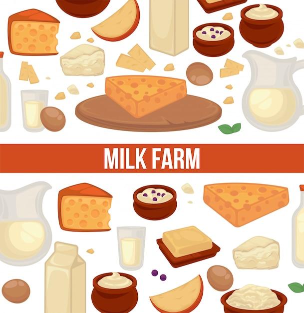 Cartaz de promo leite fazenda com padrão sem emenda de produtos lácteos Vetor Premium