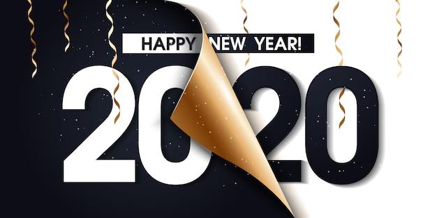 Cartaz de promoção de feliz ano novo de 2020 ou banner com papel de embrulho de presente aberto Vetor Premium