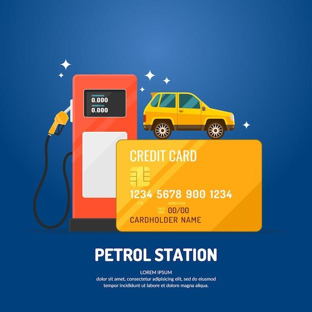 Cartaz de propaganda brilhante sobre o tema do posto de gasolina. compre combustível com cartão de crédito. ilustração. Vetor Premium