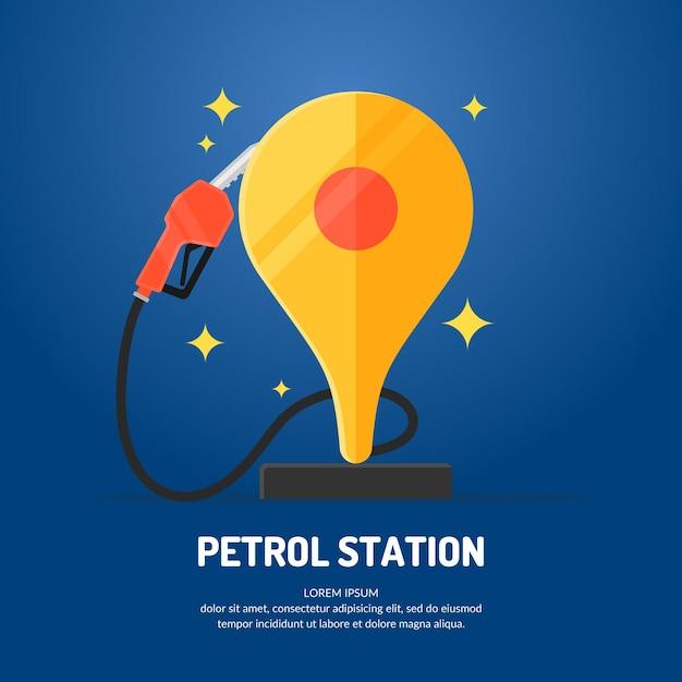 Cartaz de propaganda brilhante sobre o tema do posto de gasolina. ilustração. Vetor Premium