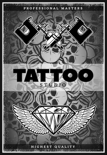 Cartaz de propaganda vintage monocromático de estúdio de tatuagem Vetor grátis