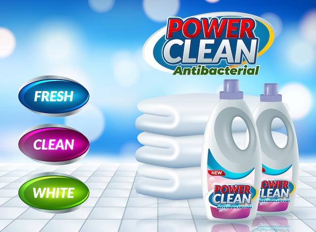 Cartaz de publicidade de detergente em pó Vetor Premium