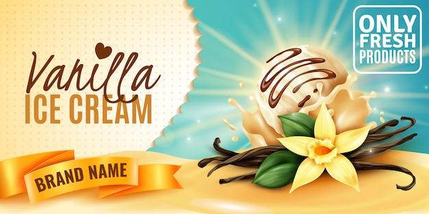Cartaz de publicidade de produto com sabor natural de sorvete de baunilha com vagens de sementes aromáticas de flores de plantas realistas Vetor grátis