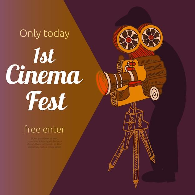 Cartaz de publicidade festival de cinema Vetor grátis