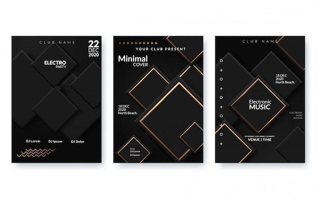 Cartaz de publicidade festival de música eletrônica. Vetor Premium
