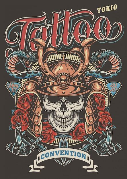 Cartaz de publicidade festival de tatuagem colorida Vetor grátis