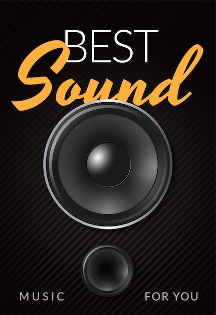 Cartaz de publicidade realista alto-falante com melhor ilustração sonora de inscrição amarelo branco Vetor grátis