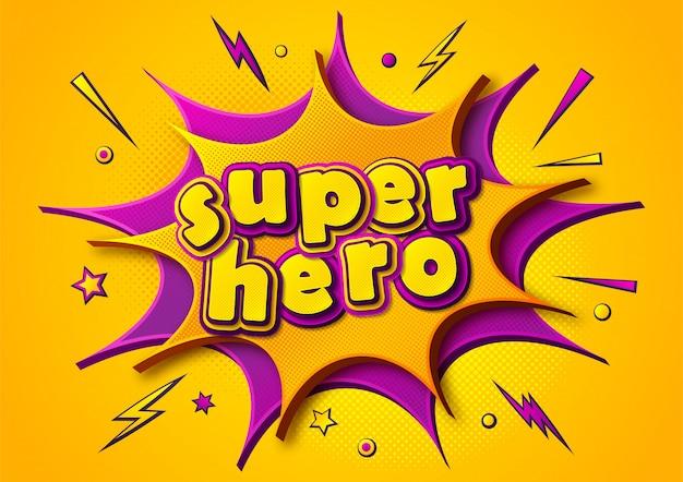 Cartaz de quadrinhos de super-herói. balões de pensamento de desenho animado e efeitos sonoros. banner amarelo-roxo no estilo pop art Vetor Premium