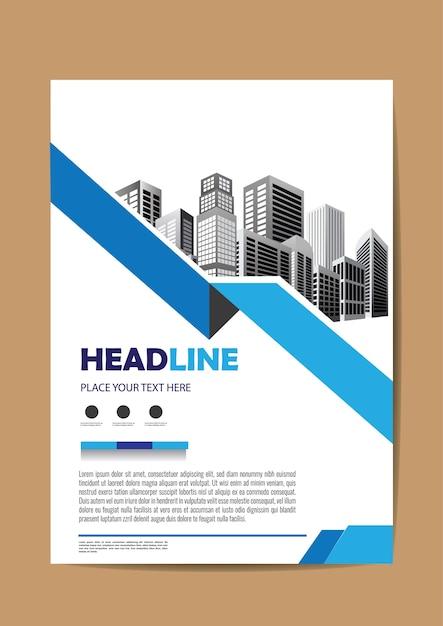 Cartaz de relatório anual de layout de folheto Vetor Premium