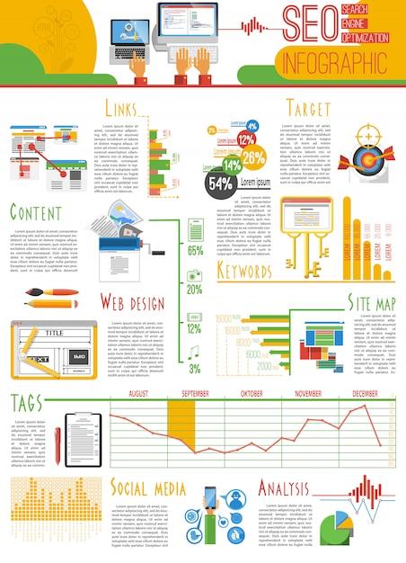 Cartaz de relatório de infografia de seo Vetor grátis