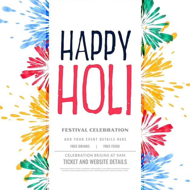 Cartaz de respingo feliz colorido tradicional holi Vetor grátis