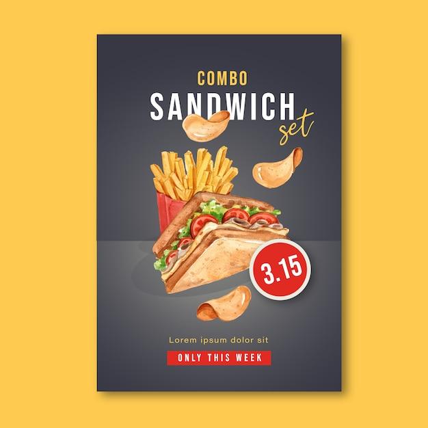 Cartaz de restaurante de fast food para decoração restaurante olhar comida apetitosa Vetor grátis