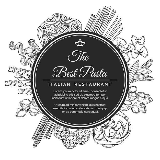 Cartaz de restaurante de massa italiana desenhada de mão Vetor Premium